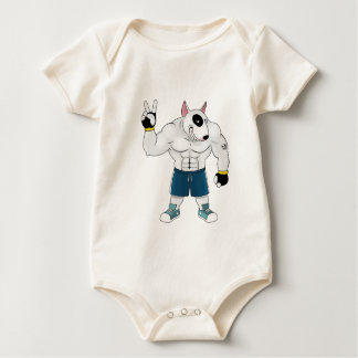 bull terrier dog  fight baby bodysuit