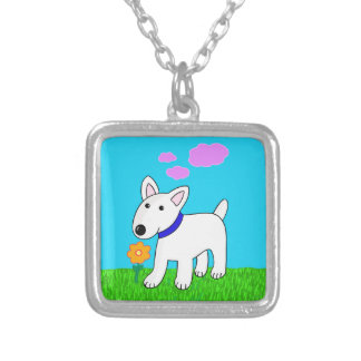 Bull Terrier Dog w Flower Necklace