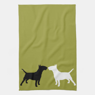 Bull Terrier Double Silhouette Kitchen Towels