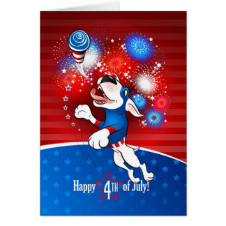 "Bull Terrier Greeting Card ""Happy 4th of July"""