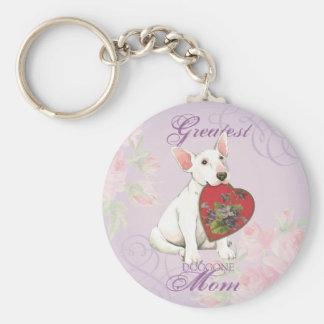 Bull Terrier Heart Mom Key Ring