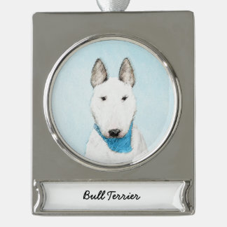 Bull Terrier Painting - Cute Original Dog Art Silver Plated Banner Ornament