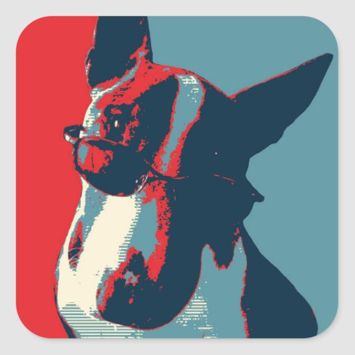 Bull Terrier Political Parody Square Stickers