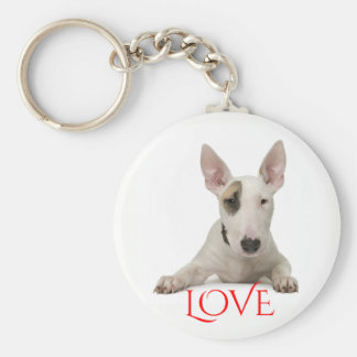 Bull Terrier Puppy Dog Red Love Keychain