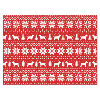 Bull Terrier Silhouettes Christmas Pattern Red Tissue Paper