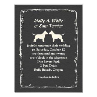 Bull Terrier Silhouettes Wedding Announcement