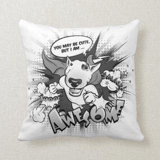 """Bull Terrier Superhero pillow """"I'm awesome!"""""""