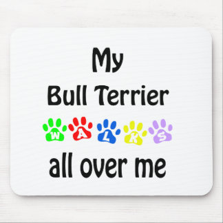 Bull Terrier Walks Design Mouse Pad