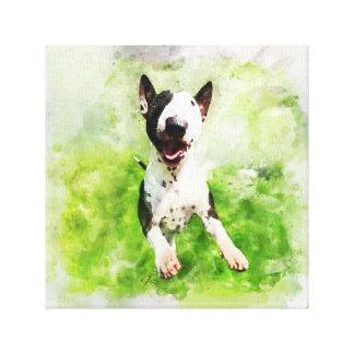 Bull Terrier Watercolor Canvas Print
