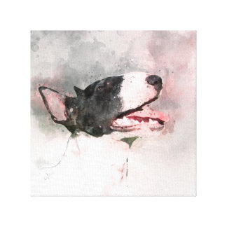 Bull Terrier watercolor painting canvas print