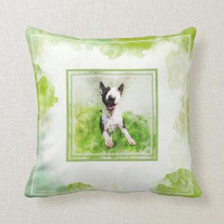 Bull Terrier watercolor pillow