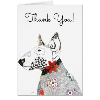 Bull Terrier with Bow Greeting Card