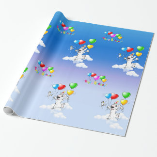 """Bull Terrier Wrapping Paper """"Happy Birthday"""""""