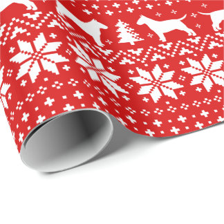 Bull Terriers Christmas Sweater Pattern Red Wrapping Paper