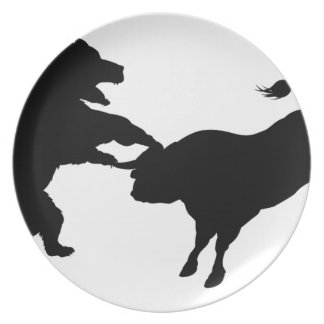 Bull Versus Bear Silhouette Concept Party Plates
