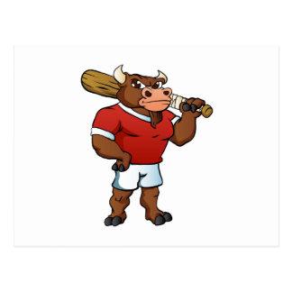 bull with baseball bat. postcard