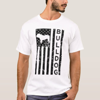 Bulldog american flag dog men's t-shirt