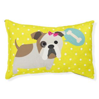 Bulldog and Bone Yellow Polka Dot Design Dog Bed