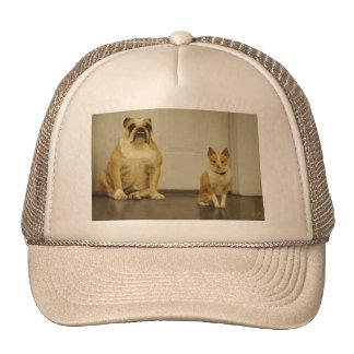 Bulldog and Friend (Sepia) Trucker Hats
