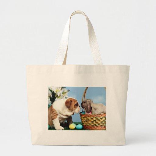 Bulldog and Rabbit Tote Bags