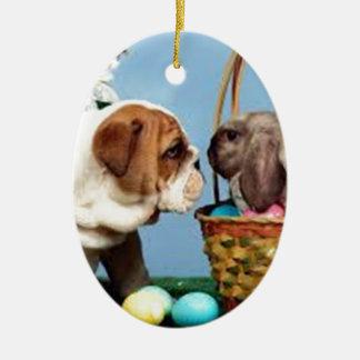 Bulldog and Rabbit Ceramic Oval Decoration