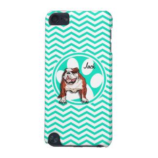 Bulldog Aqua Green Chevron iPod Touch (5th Generation) Cases
