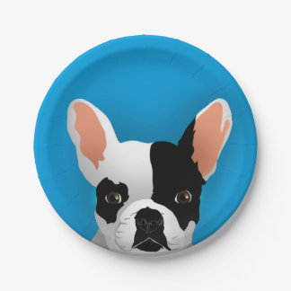 Bulldog art - french bulldog paper plate