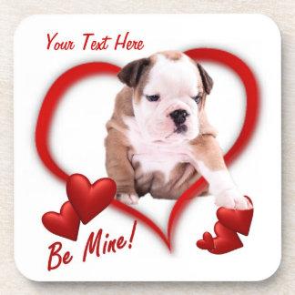 Bulldog Be Mine Valentine's Day Cork Coaster