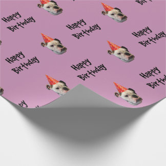 Bulldog Birthday Party Hat Wrapping Paper