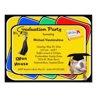 "Bulldog Black Graduation Growler Party Invite 4.25"" X 5.5"" Invitation Card"