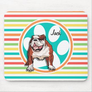Bulldog Bright Rainbow Stripes Mousepad