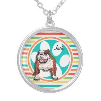 Bulldog Bright Rainbow Stripes Pendant