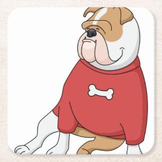 bulldog chillin in sweater cartoon square paper coaster