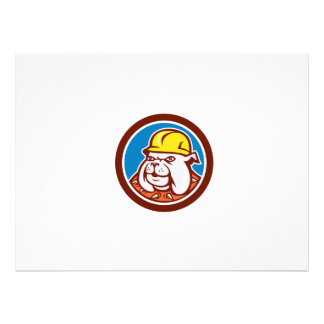 Bulldog Construction Worker Head Cartoon Personalized Invitations