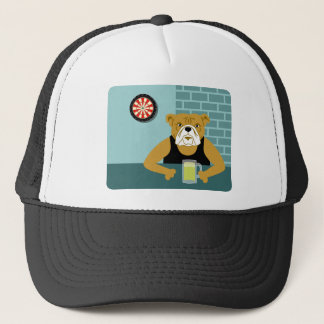 Bulldog Dartboard Beer Bar Trucker Hat