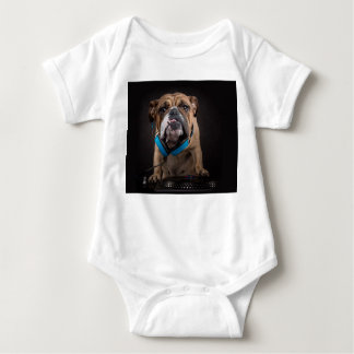 bulldog dj - dj dog baby bodysuit