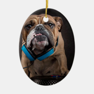 bulldog dj - dj dog ceramic ornament