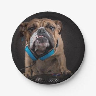 bulldog dj - dj dog paper plate
