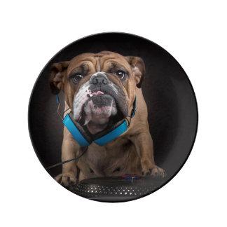 bulldog dj - dj dog plate