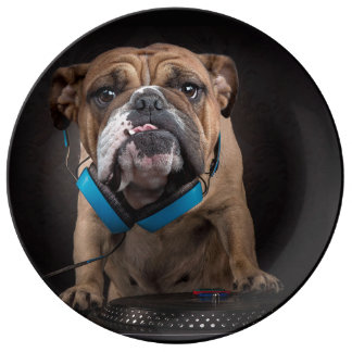 bulldog dj - dj dog plate