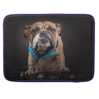bulldog dj - dj dog sleeve for MacBook pro