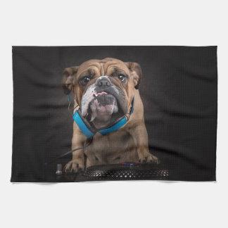 bulldog dj - dj dog tea towel