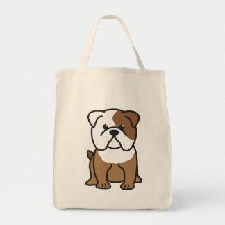 Bulldog Dog Cartoon Canvas Bags