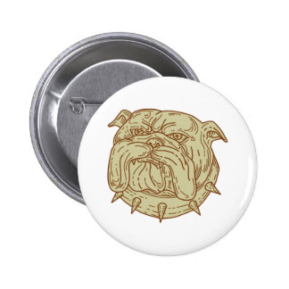 Bulldog Dog Mongrel Head Collar Mono Line 6 Cm Round Badge