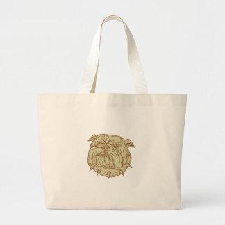 Bulldog Dog Mongrel Head Collar Mono Line Large Tote Bag