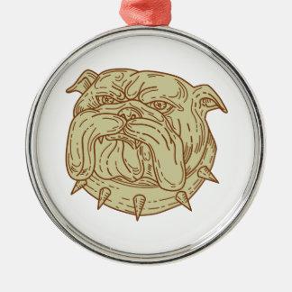 Bulldog Dog Mongrel Head Collar Mono Line Metal Ornament