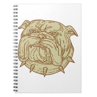 Bulldog Dog Mongrel Head Collar Mono Line Spiral Notebook
