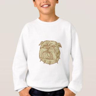 Bulldog Dog Mongrel Head Collar Mono Line Sweatshirt