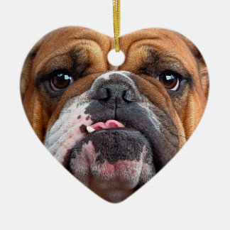 Bulldog English Bad Face Ceramic Heart Ornament