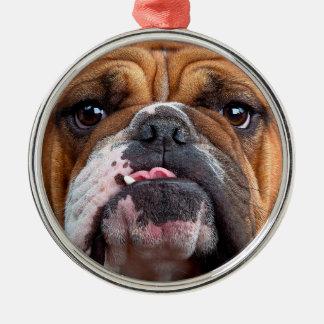 Bulldog English Bad Face Silver-Colored Round Ornament